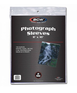 """(100) BCW 8"""" x 10"""" Soft Photo / Card Sleeves 8x10 Acid Free Archive Safe 2 Mil"""
