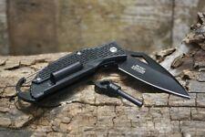 Master USA Spring Assisted Tactical Black Folding Knife Firestarter Carbineer Ne