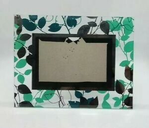 Modern Mint, Silver & Blue on Clear Glass Picture Frame 4x6 free Standing 7 X 9