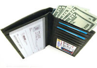 Black Cow Leather Card ID Organizer Checkbook Cover Clutch Wallet Men Women