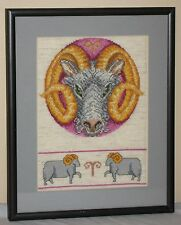 ARIES RAM ZODIAC ASTROLOGY HOROSCOPE CROSS STITCH FRAMED WALL DECOR MATTED