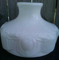 """Vintage Milk Glass Lamp Shade 10"""" Fitter BLACK WIDOW SPIDER DESIGN Antique RARE!"""