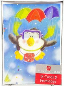 Christmas Holiday Cards Skydiving Penguin 18 count New