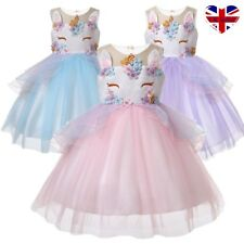 UK Kids Girls Unicorn Flower Tutu Dress Bridesmaid Pageant Party Formal Costume