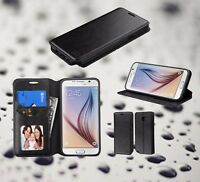 BLACK Leather Wallet Case Cover Flip Pouch Stand + Plug For SAMSUNG GALAXY Phone