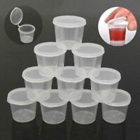 100/Set Kleine Plastik-Saucenbecher Frischhaltedosen Boxen + Klare Deckel* W3P2