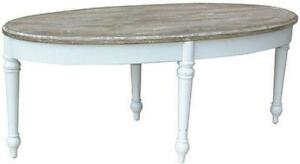 TRADE WINDS PROVENCE COFFEE TABLE COCKTAIL TRADITIONAL ANTIQUE OVAL WHITE