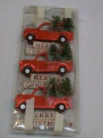 Merry Christmas Tree Ornaments Holiday Red Pickup Truck Rustic Cottage Set 3 Lot