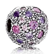 New Genuine PANDORA Purple Cosmic Stars Clip charm Silver S925 ALE 791286CFPMX