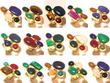 Wholesale Lot 925 Tibetan Brass 20pcs Rings Gemstone Jewelry