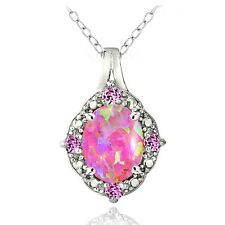 Sterling Silver Diamond Accent Created Pink Opal & Pink Sapphire Oval Necklace