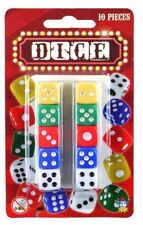 New 10 Piece Dice Set Coloured Six Sided Home Casino Games Fun Playing Dice 10pc