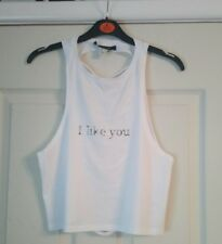 ladies brand new white i like you crop top size 6