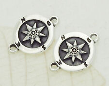 925 Sterling Silver 2 Compass Printed Connectors,Links 11mm.