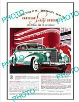 OLD LARGE HISTORIC ADVERTISING POSTER, CADILLAC SIXTY SPECIAL MOTOR CAR c1940