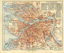Sankt Petersburg - Russland Bevölkerung Industrie alte Originale Karte 1892