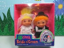 "BRIDE & GROOM - 3"" WISHNIK UNEEDA Troll Dolls - New In Container"