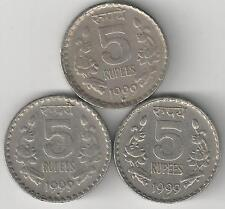 3 DIFFERENT 5 RUPEE COINS from INDIA (ALL DATING 1999 w/ MINT MARKS of H, N & R)
