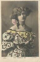 VINTAGE Hand Coloured REAL PHOTO GLITTER MISS GABRIELLE RAY POSTCARD - USED