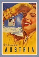 Wintersports in Austria Österreich Blechschild Schild Tin Sign 20 x 30 cm F0170