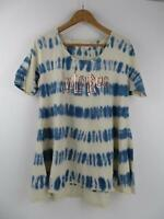 LuLaRoe Womens Tie Dye Perfect T Small Shirt Tee Top Blue White Foil Unicorn EUC