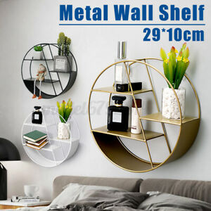 Round Floating Shelves Metal Wall Shelf Hanging Decoration Office Storage Rack