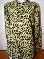 Crown & Ivy Size XL Yellow Fish Print Button Down Shirt Top Long Sleeve