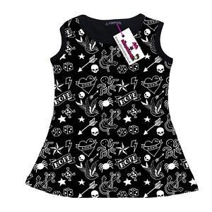Tattoo Print Girls Tank Dress, Rockabilly Punk Alternatots Goth Metal 3-10 years