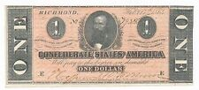 1864 Confederate $1 Note One Dollar-Richmond-Marvelous Condition! Ships Free!