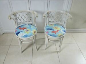 White Bamboo Honeymoon Chair Upholstered Seat Set Of Two