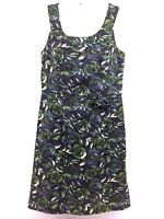 Ann Taylor Loft Women's Dress Flowers Floral Print Career Navy Blue Green Size 6