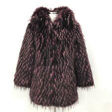 Karen Millen Coat Pink Black Size 10 Faux Fur Hook And Loop Women's 341833