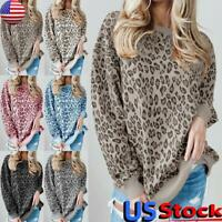 Womens Leopard Print Long Sleeve Jumper Tops Ladies Casual Loose Pullover Blouse