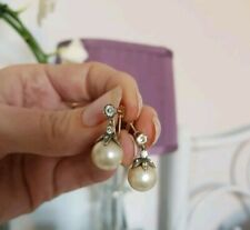 And Faux Pearl Drop Earrings Antique Edwardian 9ct Gold Paste