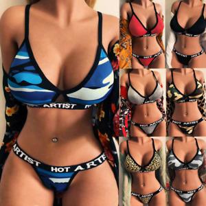Women Letter Print Lingerie Nightwear G-String Bra Thong Briefs Underwear Set