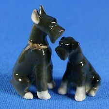 Dog Schnauzer Pair figurines Lomonosov porcelain Russia IFZ