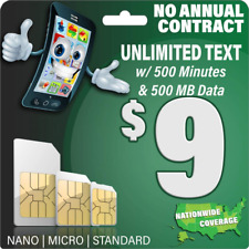 $9 Gsm Sim Card - Unlimited Text, 500 Mins Talk, and 500Mb 5G 4G Lte Data -.