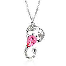 Women Rose red crystal Rhinestones scorpion fashion Jewellery Necklace Pendant