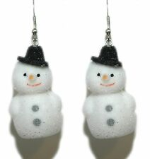 FLOCKED MINI CHRISTMAS SNOWMAN DANGLE EARRINGS (H181)