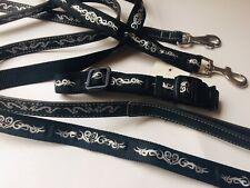 XS Black Tattoo Print Collar & Matching Lead + Ferplast Lead ( 3 Pieces )
