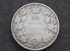 1914 Canada Fifty Cents .925 Silver Coin D8603
