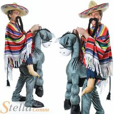 Adult Mens Hey Amigo Mexican Donkey Rider With Poncho Bandit Fancy Dress Costume