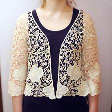 Beige algodón Pretty Crochet hueco Edge 2 Edge Top Cardigan Chaleco Mujer Ct2
