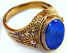 Antique Chinese Gold Gilded Silver and Lapis Lazuli Filigree Ring  Size 7
