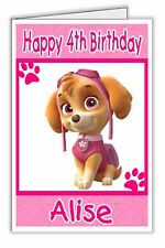 Paw Patrol Skye Girls Pink Personalised Birthday Card - any name & age