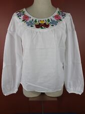 Rare Vintage Traditional Hungarian Embroidered Floral Blouse Folk Top New