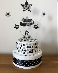 `Cake Topper Birthday Star Explosion 1st 2nd 3rd 18th 21st 30th 40th 50th 60th