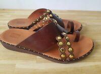 Flipflop brown brass leather flat slide on sandal mule UK 5
