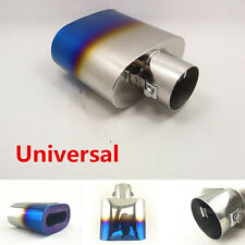 1Pcs Chrome Blue Colorful Car Exhaust Muffler Tip Caliber 5.5cm Stainless Steel