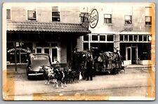 Postcard RPPC 1950s Chas McCartney & Goats Esso Dealer Chevrolet Service Circus